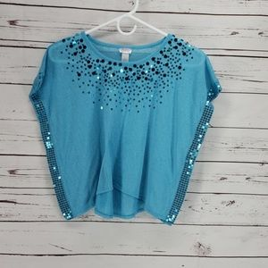 Justice Girls Teal Blue Sequined over shirt Top